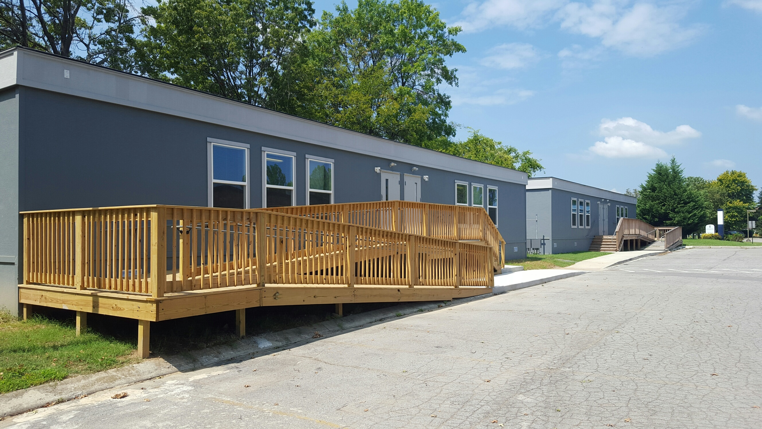 Purpose Prep Academy exterior view of temporary classroom buildings