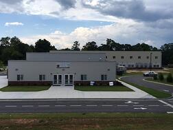 Exterior view of a two-story modular charter school